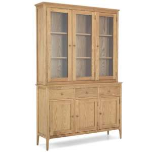 Wardle Wooden Large Display Cabinet In Crafted Solid Oak