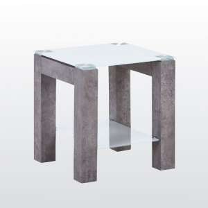 Warren Glass End Table In White With Concrete Effect Base