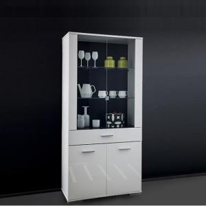 Warso Glass Display Cabinet In White With Gloss Fronts