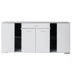 Warso Sideboard In White With High Gloss Fronts And 4 Doors