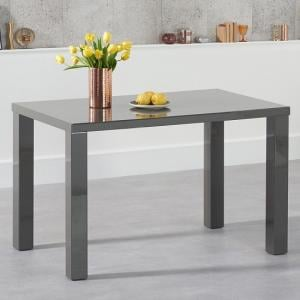 Washington 120cm Dining Table In Dark Grey High Gloss