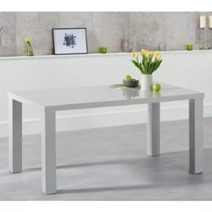 Washington 160cm Dining Table In Light Grey High Gloss