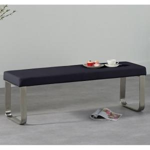 Washington Medium Dining Bench In Black Faux Leather