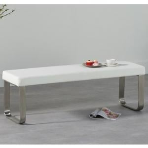 Washington Medium Faux Leather Dining Bench In White