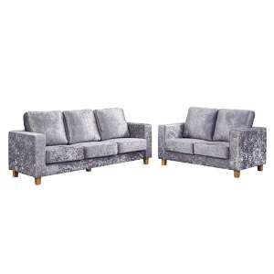 Wasp Crushed Velvet 2 Seater And 3 Seater Sofa Suite In Silver