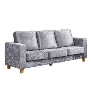 Wasp Crushed Velvet 3 Seater Sofa In Silver