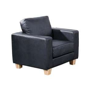 Wasp PU Leather 1 Seater Sofa In Black