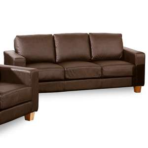 Wasp PU Leather 3 Seater Sofa In Brown