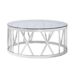 Wasser Glass Coffee Table In Smoked With Polished Steel Base