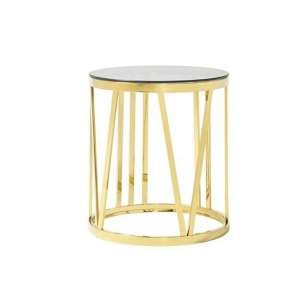 Wasser Glass Lamp Table In Smoked With Gold Plated Steel Base