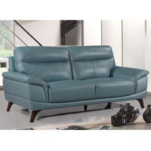 Watham 3 Seater Sofa In Blue Faux Leather With Wooden Legs