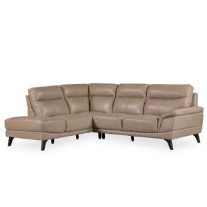 Watham Left Corner Sofa In Taupe Faux Leather With Wooden Legs