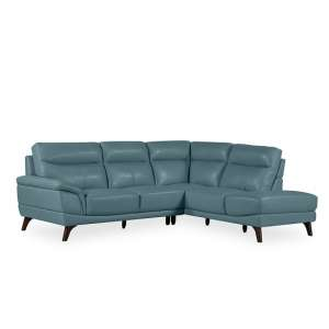 Watham Right Corner Sofa In Blue Faux Leather With Wooden Legs
