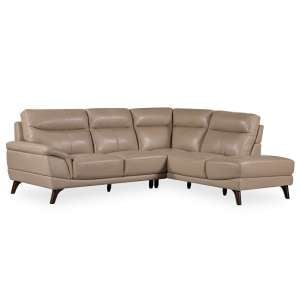 Watham Right Corner Sofa In Taupe Faux Leather With Wooden Legs