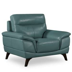 Watham Sofa Chair In Blue Faux Leather With Wooden Legs