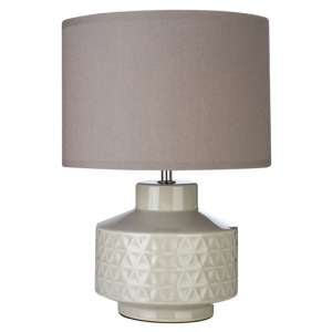 Wavina Grey Fabric Shade Table Lamp With Geometric Pattern Base