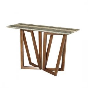 Webstar Marble Console Table In Multicolor With Walnut Base