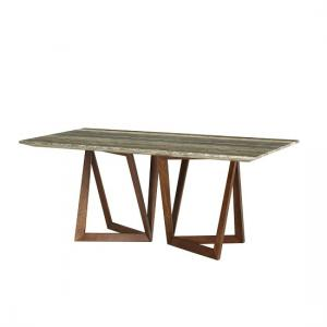 Webstar Multicolor Marble Large Dining Table With Walnut Base