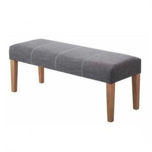 Webster Dining Bench In Grey Fabric With Wooden Legs