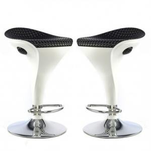 Welford Bar Stool In Black And White Gloss In A Pair