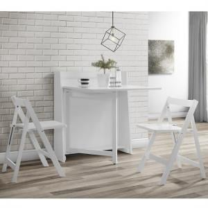 Wembley Folding Console In To A Dining Table Set In White_4