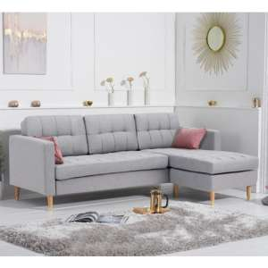 Weridge Linen Fabric Reversible Chaise Corner Sofa In Grey