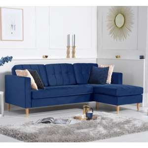 Weridge Velvet Reversible Chaise Corner Sofa In Blue