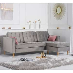 Weridge Velvet Reversible Chaise Corner Sofa In Grey