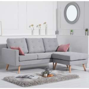 Wescole Linen Fabric Reversible Chaise Corner Sofa In Grey