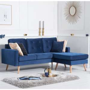 Wescole Velvet Reversible Chaise Corner Sofa In Blue