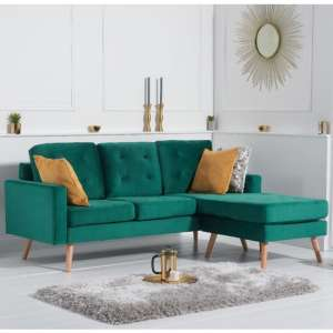 Wescole Velvet Reversible Chaise Corner Sofa In Green