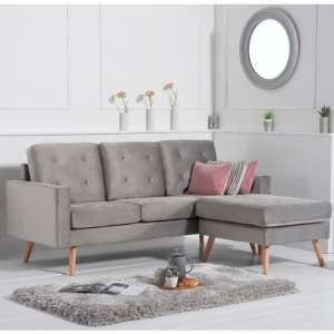 Wescole Velvet Reversible Chaise Corner Sofa In Grey