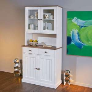 Westerland 4 Door Display Cabinet In White And Oak With 2 Drawer