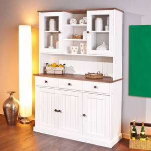Westerland 5 Door Display Cabinet In White And Oak With 3 Drawer