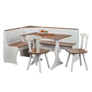 Westerland Corner Bench Dining Set In White And Oak With 2 Chair