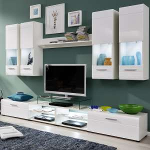 Westfield Living Room Set In White And Gloss Fronts With LED