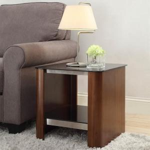 Westin Lamp Table In Black Glass And Walnut With Undershelf