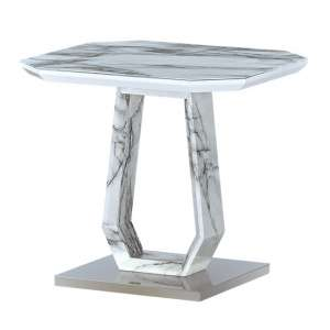 Westlake Marble Effect Glass Lamp Table