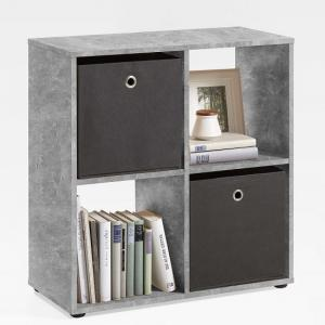 Westphalen Bookcase In Concrete Colour With 4 Compartments