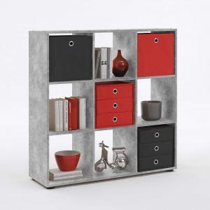 Westphalen Bookcase In Concrete Colour With 9 Compartments