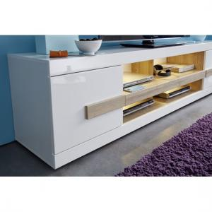 Wexford TV Stand In White High Gloss Fronts And Oak With LED_5