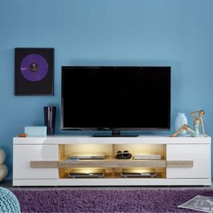 Wexford TV Stand In White High Gloss Fronts And Oak With LED_2