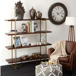 Shaula Bookcase In Rustic Wood And Antique Brass Finish