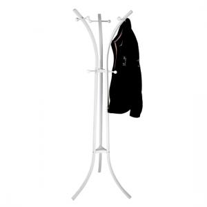Modern Metal Coat Stand In White With 9 Hooks
