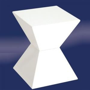 Edge Funky End Table In White High Gloss Lacquered