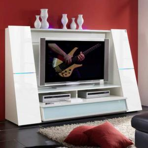 Star White TV Entertainment Unit In High Gloss