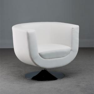 Amazing Havana Swivel White Faux Leather Tub Chair
