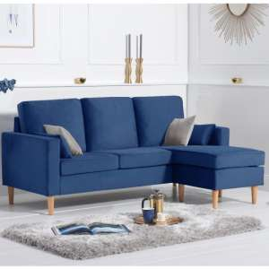 Whitro Velvet Reversible Chaise Corner Sofa In Blue