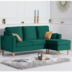Whitro Velvet Reversible Chaise Corner Sofa In Green
