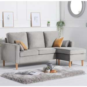 Whitro Velvet Reversible Chaise Corner Sofa In Grey